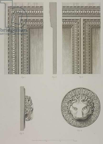 Bronze panel and decorative medallions in the Church of Notre Dame at Aix-la-Chapelle, France, from L'Architecture du V au XVI siecle et les Arts qui en dependent, 1853-1857, by Jules Gailhabaud (1810-1888)