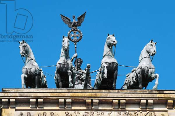 Quadriga, by Johann Gottfried Schadow, on top of Brandenburg Gate Brandenburger Tor (1791), Berlin, Germany