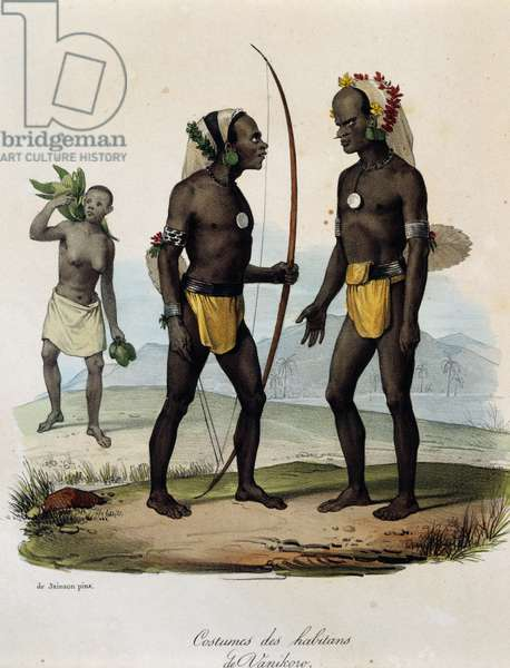 Natives of Vanikoro wearing headdresses and traditional clothing, one holding bow, and a woman in the background, by Jules Sebastien Cesar Dumont d'Urville (1790-1842), color lithograph, France, 19th century