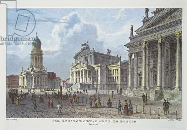 Berlin, Gendarmenmarkt with the twin churches of Deutscher Dom and Franzosischer Dom and Konzerthaus (Concert House) incentre, in 1850
