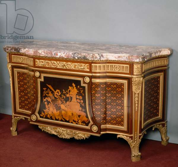 Louis XV-XVI style Second Empire (Napoleon III) commode with rosewood, satinwood, amaranth and painted wood inlays, stamped by Lexcellent. France, 19th century