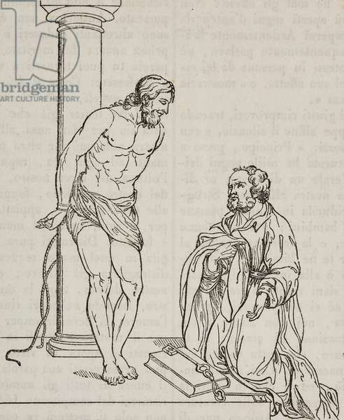 Christ tied to column and Simon Peter, after painting by Bartolome Esteban Murillo, illustration from Teatro universale, Raccolta enciclopedica e scenografica, No 584, September 20, 1845