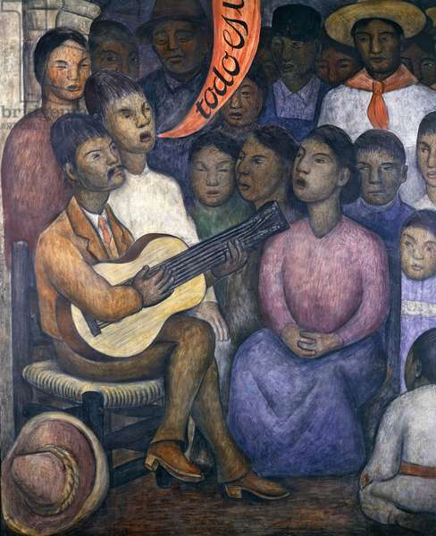 Singer and choir, 1928, by Diego Rivera (1886-1957), detail from the Ministry of Education frescoes (1923-1928), Mexico City. Mexico, 20th century.