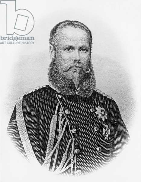 Portrait of Charles I (1823-1891), King of Wuerttemberg from 1864, engraving