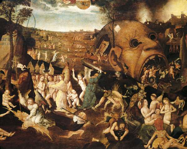 Last Judgment, 1506-1508, by Hieronymus Bosch (circa 1450-1516), oil on canvas, 59x113 cm, detail