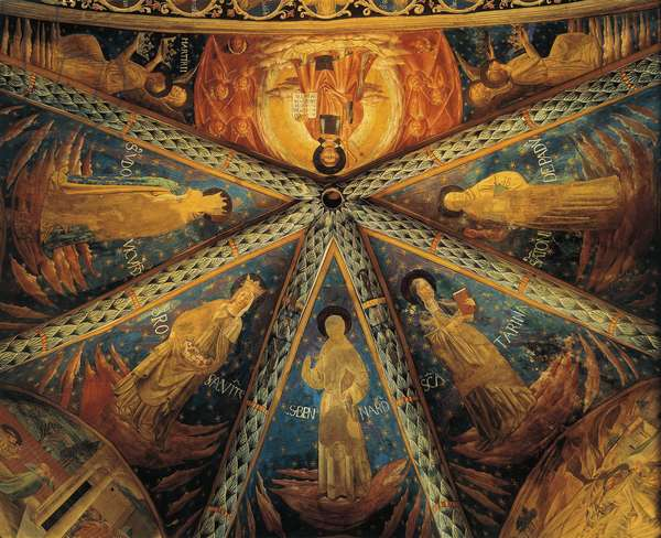 Italy, Montefalco, Vault of Apse of Church of Saint Francis Painted with saints