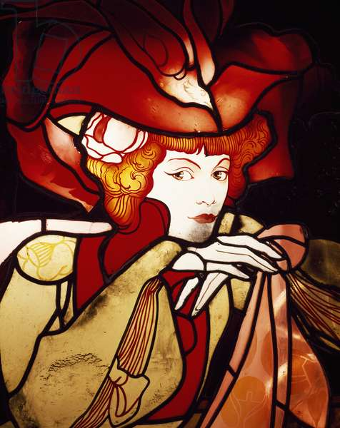 Female Figure, detail, 1901-1902 (stained glass)