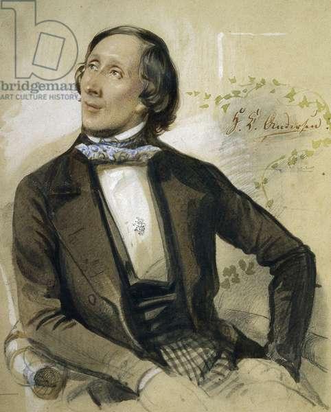 Portrait of Hans Christian Andersen (Odense, 1805-Copenhagen, 1875), Danish writer and poet, in Augustenborg in 1845, painting by Karl Hartmann (1818-1857)