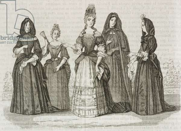 Madame de Maintenon, with his retinue made up of young lay sister, third class maid, Saint Cyr holy woman, first class lady, engraving from L'album, giornale letterario e di belle arti, December 17, 1842, Year 9