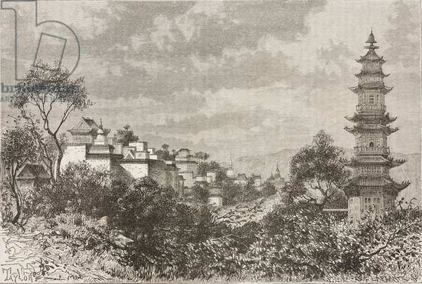 Uan-tceu-tcian (literally Mountain of ten thousand Longevity), Old Summer Palace, China, drawing by Thomas Taylor (1844-unknown) from watercolor by Deveria, from Beijing and North China, by T Choutze pseudonym of Gabriel Deveria (1844-1899)
