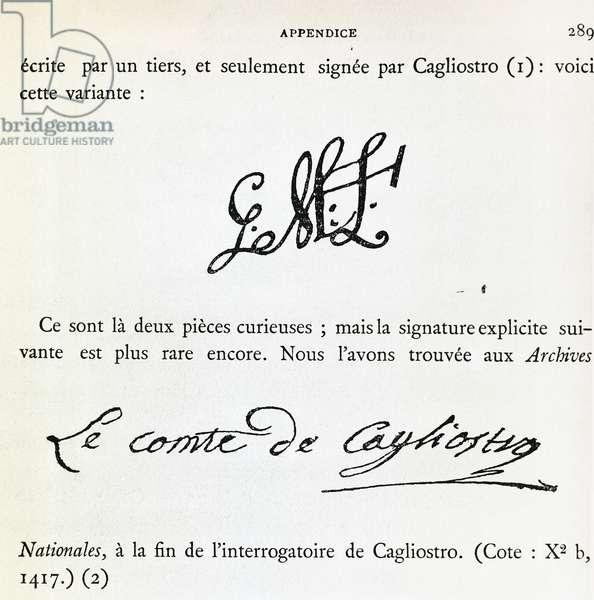 Signatures of Count Alessandro di Cagliostro (pseudonym Giuseppe Balsamo, 1743-1795), France, 18th century