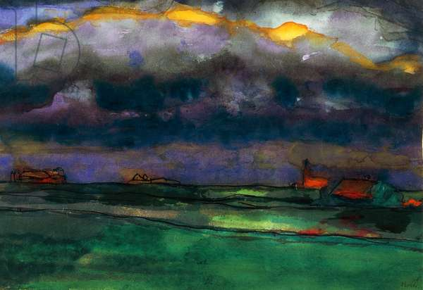 Landscape of North Friesland, by Emil Nolde (1867-1957), watercolour. Germany, 20th century.