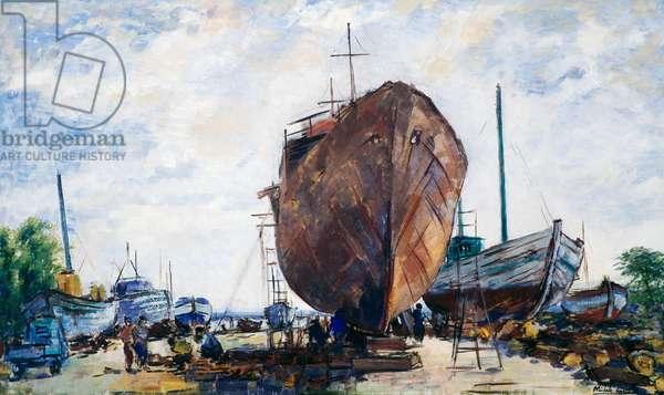 Ortona, Slipway, by Michele Cascella (1892-1989), oil on canvas. Italy, 20th century.