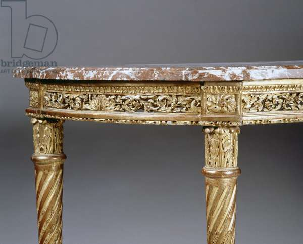 Louis XV style carved and gilt wood console table, France, 18th century, Detail