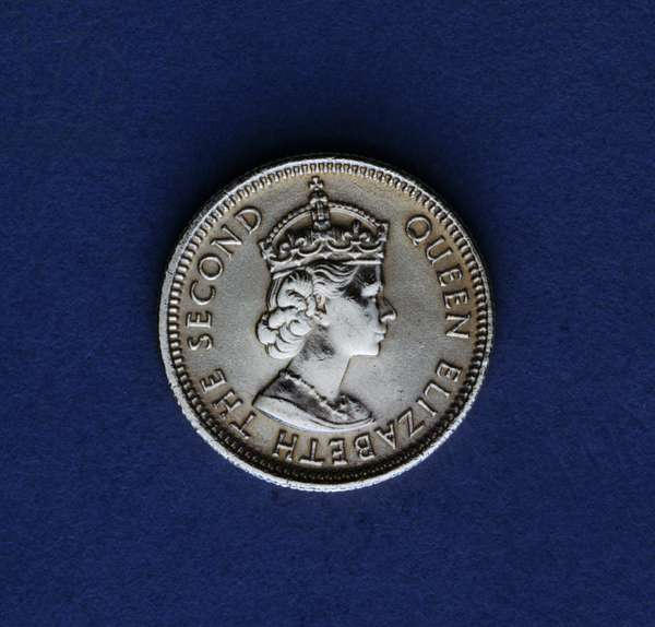 5 cents coin, 1979, obverse, portrait of queen Elizabeth II (1926-), Hong Kong, 20th century