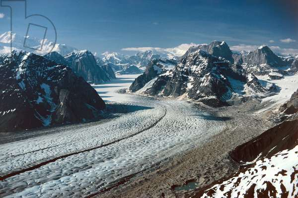 USA, Alaska, Aerial view of Eldridge Glacier in Alaska Range  (photo)