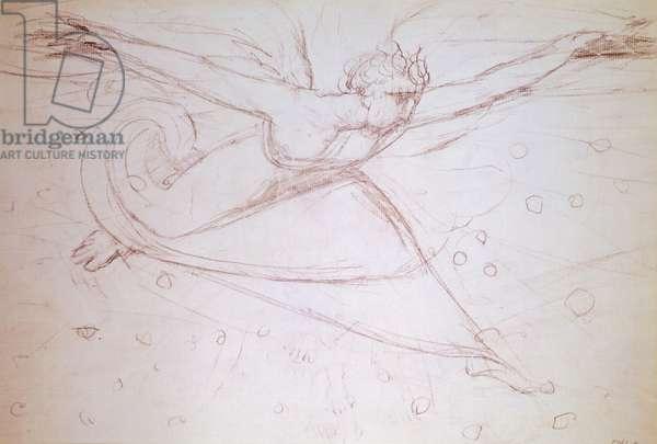 Angel walking, drawing by William Blake (1757-1827)