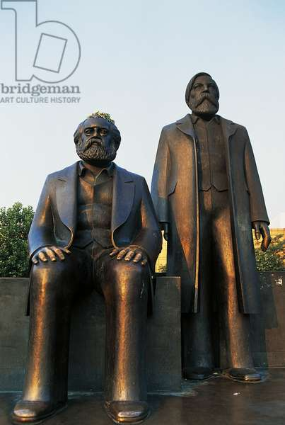 Statues of Marx and Engels, Marx-Engels Forum (1986), prior to their removal after fall of Berlin Wall, Berlin, Germany