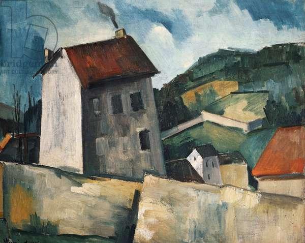 The gray house, 1914, by Maurice de Vlaminck (1876-1958), oil on canvas, 55x46 cm. France, 20th century.