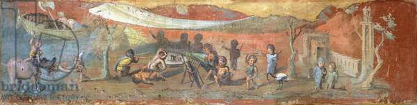 Painting on plaster depicting a scene along the Nile with pygmies, 56x217 cm, from Pompeii (UNESCO World Heritage List, 1997), Campania. Roman Civilization, 55-79.