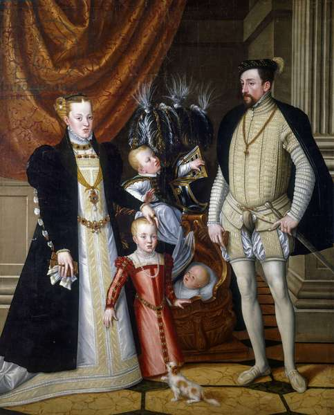 Maximilian II of Habsburg (1527-1576), his wife Maria of Habsburg (1528-1603) and their children Anna (1549-1580), Rudolf (1552-1612) and Ernest (1553-1595), by Giuseppe Arcimboldo, oil on canvas, 240x188 cm