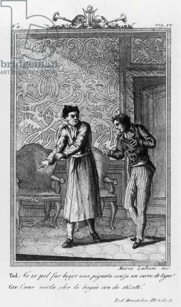 Sior Todero and servant Gregorio, illustration for Grumpy Mr Todero, comedy by Carlo Goldoni (1707-1793), engraving by Marco Zuliani, from Commedie di Carlo Goldoni, published by Girolamo Tasso, 1824, Venice