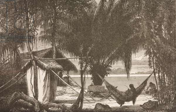 Summer residence of seringueiro (rubber-tapper), drawing from Exploration of Rivers Amazon and Madeira in Brazilian Empire, text and drawings by Franz Keller-Leuzinger (1835-1890), 1867