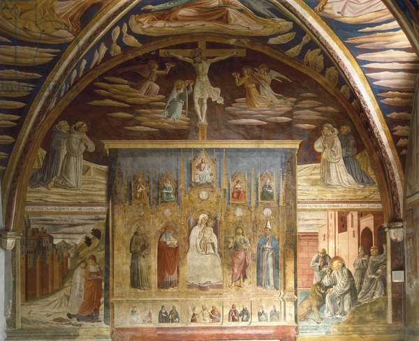 Cycle of frescoes depicting life of Christ and St Jerome, 1452, by Benozzo Gozzoli (1421-1497), Chapel of St Jerome, Church of St Francis, Montefalco, Umbria. Italy, 15th century.