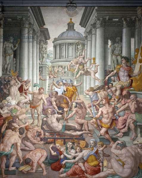 Martyrdom of Saint Lawrence, 1569, Fresco by Agnolo Bronzino (1503-1572), Basilica of San Lorenzo, Florence, Tuscany, Italy