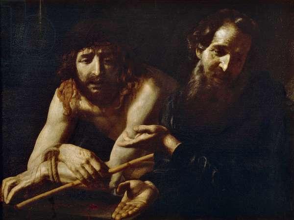 Christ before Caiaphas, by Giovanni Battista Caracciolo, detail, 1611-1620, oil on canvas, 1570-1637, 73x103 cm