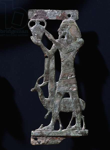 Bearer with Syrian offering, cast bronze sculpture, Egyptian civilization