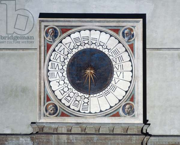 Clock face with heads of prophets, 1443, by Paolo Uccello (1397-1475). Counter-facade of Santa Maria del Fiore, Florence, Italy