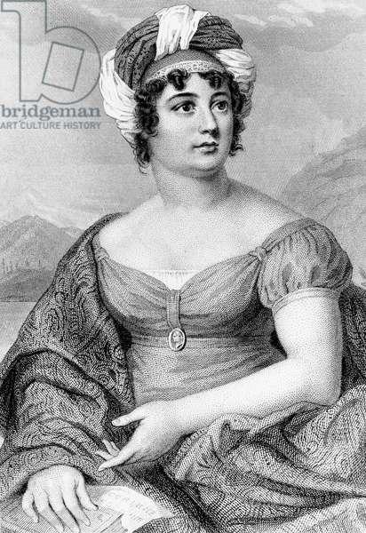 Portrait of Anne-Louise Germaine Necker, Baronne de Stael-Holstein, known as Madame de Stael (Paris, 1766-1817), French writer of Swiss origin, engraving