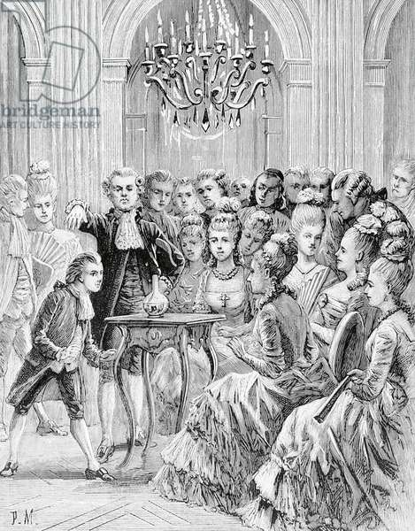 Seance of Count Alessandro of Cagliostro (pseudonym Giuseppe Balsamo, 1743-1795) during meeting of Egyptian Rite Masonic Lodge which he founded