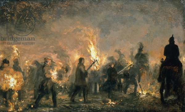 Torchlight procession of students (Studenten Fackelzug), 1859, by Adolph Menzel (1815-1905).