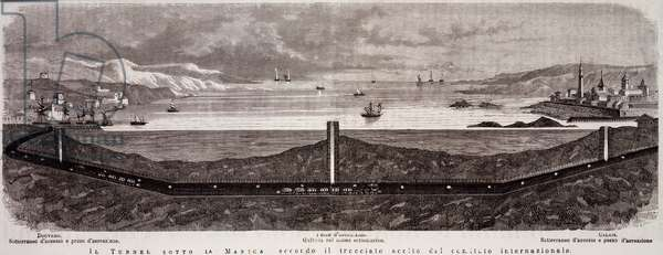 Design of tunnel under English Channel between France and United Kingdom, engraving taken from Illustrazione Italiana, February 27, 1876, 19th century
