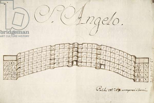 Plan of the boxes at Teatro Sant'Angelo in Venice, drawing, Italy, 18th century