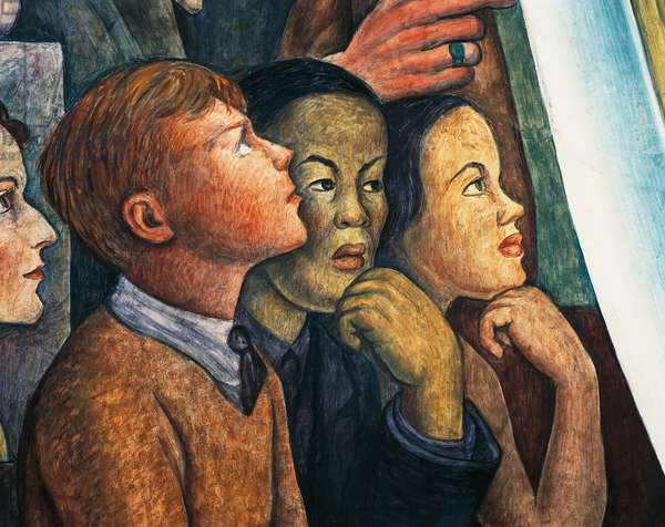 Three students of different ethnicity, detail from Man at the crossroads, looking with hope and high vision to a new and better future, by Diego Rivera (1886-1957), fresco from the Palace of Fine Arts, Mexico City. Mexico, 20th century.