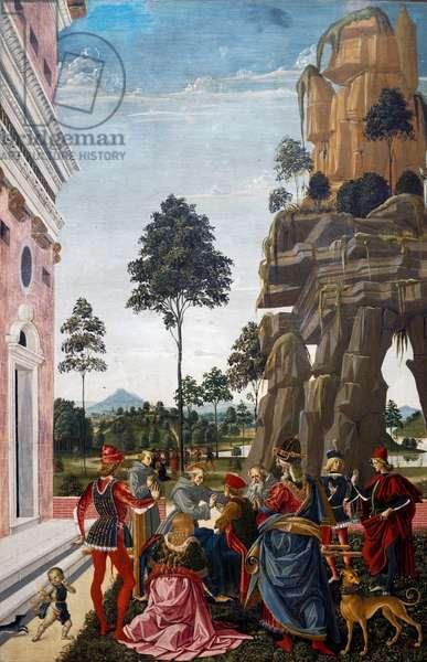Saint Bernardino resurrects dead man found under tree on way to Verona, 1473