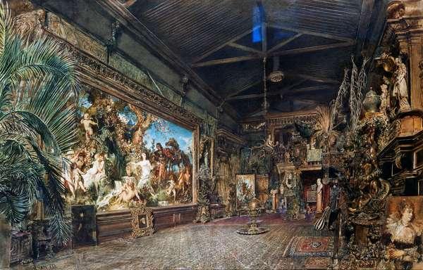 Hans Makart's studio before auction, 1885, painting by Rudolf von Alt (1812-1905), Austria, 19th century
