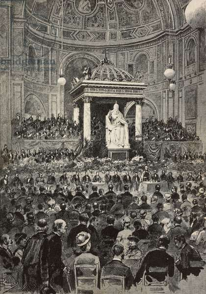 The third centenary of the Gregorian Calendar celebrated in the Church of San Lorenzo in Damaso, Rome, Italy, engraving from drawing by Dante Paolocci, from L'Illustrazione Italiana, year 10, no 28, July 15, 1883