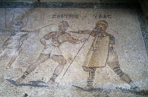 Mosaic depicting gladiator fight, Kos island, Greece (photo)