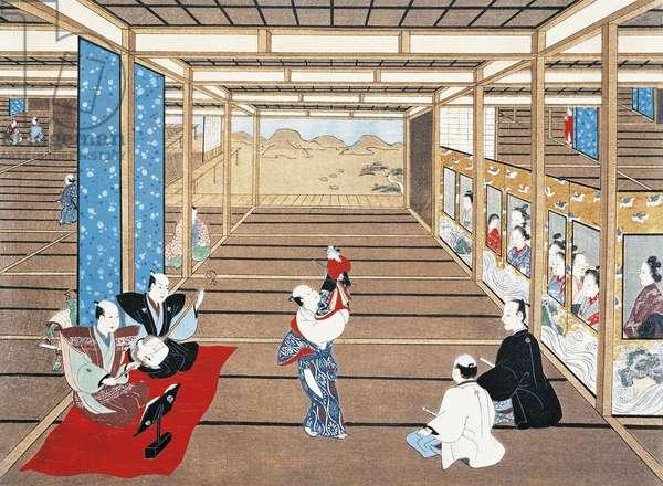 Puppet show, by Torii Kiyomasu I (active 1697-1722), ukiyo-e style painting, Japan, Japanese Civilisation, 17th-18th century