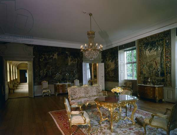 Rococo room with Flemish Gobelin tapestries from Seasons series, Rosenholm Castle, Jutland, Denmark