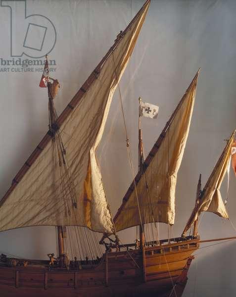 Model of La Nina, caravel of Christopher Columbus, Detail