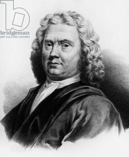 Portrait of Herman Boerhaave (1668-1738), Dutch physician, chemist and botanist, engraving
