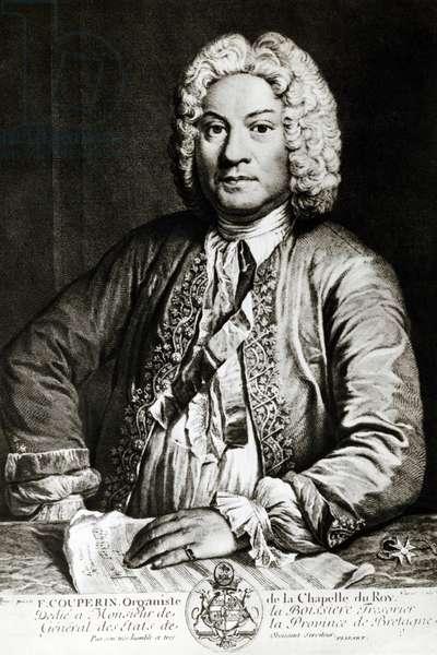 Portrait of Francois Couperin (Paris, 1668 - Paris, 1733), French composer, organist and harpsichordist, engraving, by Jean-Jacques Flipart (1719-1782)
