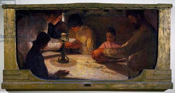 The hearth, 1910, by Ferruccio Ferrazzi (1891-1978), oil on canvas, 105x210 cm. Italy, 20th century.