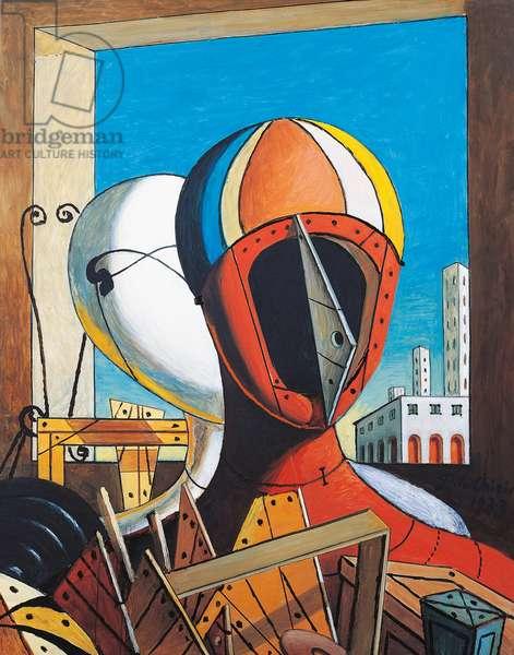 Masks, 1973, by Giorgio de Chirico (1888-1978), oil on canvas, 52x42 cm. Italy, 20th century.