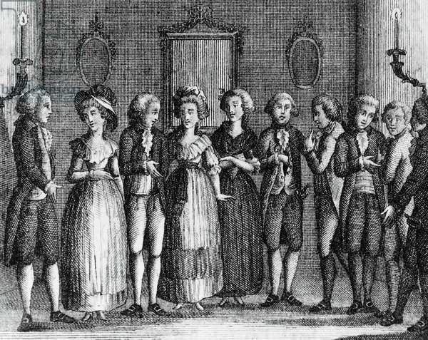 Illustration for spendthrift miser, comedy by Carlo Goldoni (1707-1793), engraving, from Opere teatrali del sig avvocato Carlo Goldoni veneziano, published by Antonio Zatta e figli, 1789, Venice